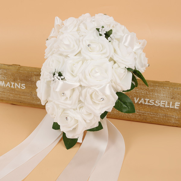 High Quality Silk Wedding Bridal Bouquets with Handmade Flowers Peals Crystal Rhinestone Rose Supplies Bride Holding Brooch Bouquet CPA1575