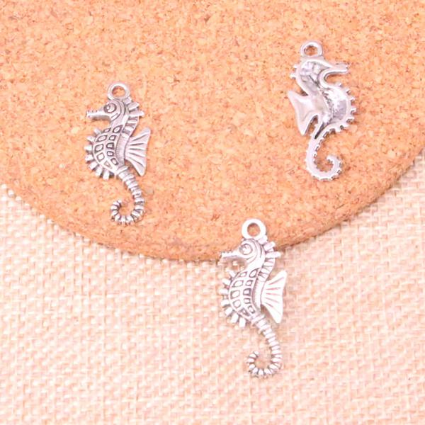 80pcs Antique silver hippocampus seahorse Charms Pendant Fit Bracelets Necklace DIY Metal Jewelry Making 29*12mm