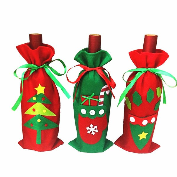 Fun Christmas Wine Bottle Cover Bag Navidad Banquet Christmas Dinner Party Xmas Plush Cute Snowmen Table Decor New Years Gift