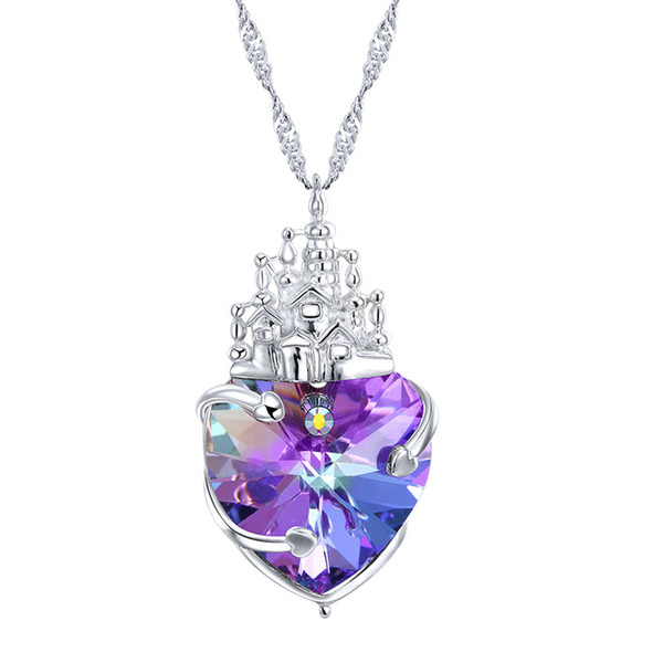 Sterling Silver Necklace, European and American, uses SWAROVSKI crystal heart pendant.