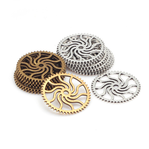 whole saleTwo Colors Plated Vintage Metal Zinc Alloy Steampunk Gear Pendant Charm Fit Jewelry Charms Making Findings 25mm 40pcs 7367