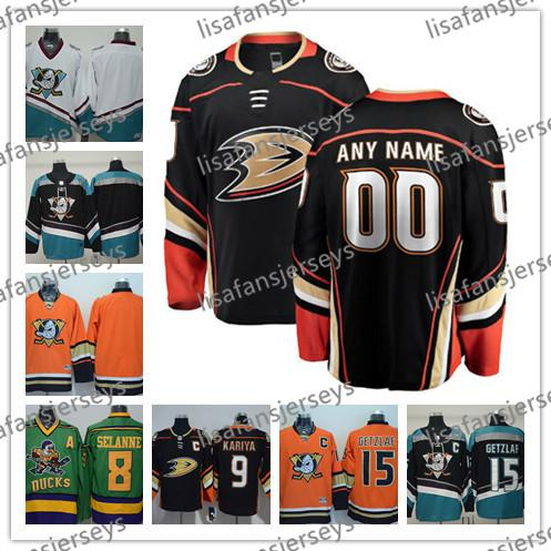 Custom Anaheim Ducks Stitched Uomo Womens Youth OLD BRAND Arancione Bianco Nero Third Mighty Purple Bianco vintage hockey su ghiaccio verde Jersey S-3XL