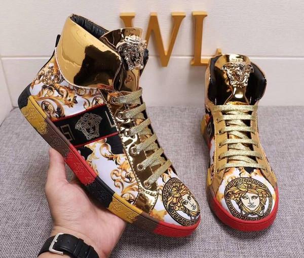 2018 Date Hommes Designer Chaussures De Luxe Marque Designers Bottes Courtes Streetwear Hommes Chaussures De Course Sneakers Plus La Taille 38-44