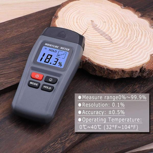 Qualidade MT15 Medidor de Umidade De Madeira Digital Dois Pinos Damp Detector Com Grande Display LCD Portátil de Madeira Testador de Umidade