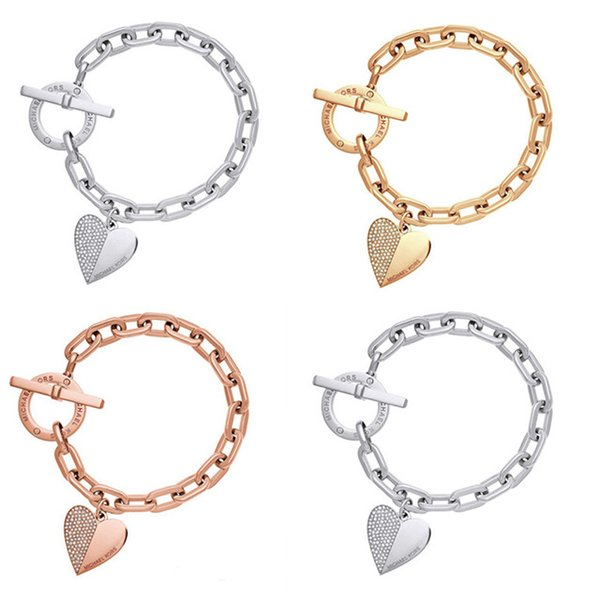 New Fashion Simple Heart Bracelet Bangles Good Jewelry Gift For Christmas Valentine's Day bracelet hearts encrusted with diamond bracelet