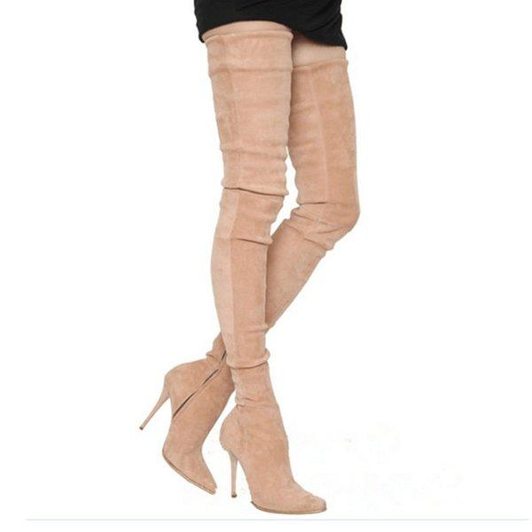 Yeni Moda Süet Uyluk Yüksek Çizmeler Podyum Modeli Yüksek Topuk Motosiklet Çizmeler Diz Üzerinde Uzun Seksi Ince Yan Zip Kadın Ayakkabı