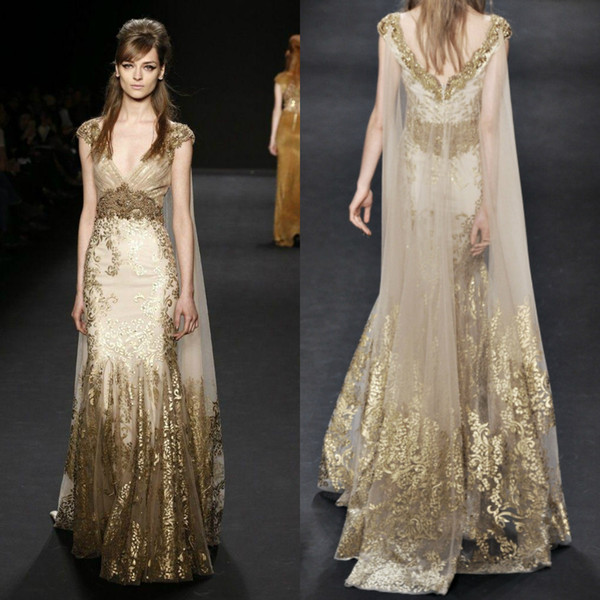 Gold Lace Appliqued Mermaid Evening Dresses With Wrap V Neck Beaded Prom Gowns Glamorous Dubai Fashion Party Dress