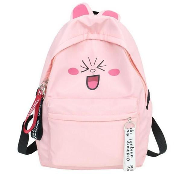 Women Cute Face Backpack with Ear Cartoon Backpacks for Teenage Girls School Bag Funny Printing Rucksack mochilas feminina