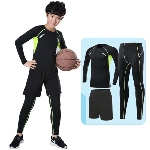 Kids compression running sets outdoor sports kit basketball soccer football shirts suit fitness shorts leggings pants breathable