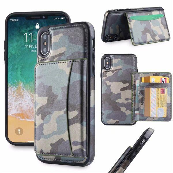 IPhone için X 8 7 Artı Cüzdan Kılıf Kamuflaj Desen PU Deri Kredi Kartı Yuvaları ile Case Arka Kapak Braketi Cep Telefonu koruyucu