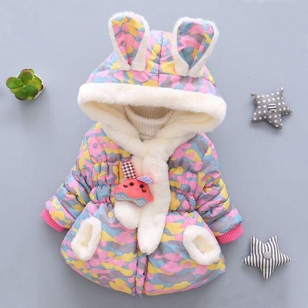 Moda de invierno recién nacido niños más terciopelo linda chaqueta de algodón con capucha ropa infantil bebé traje ropa de abrigo niña