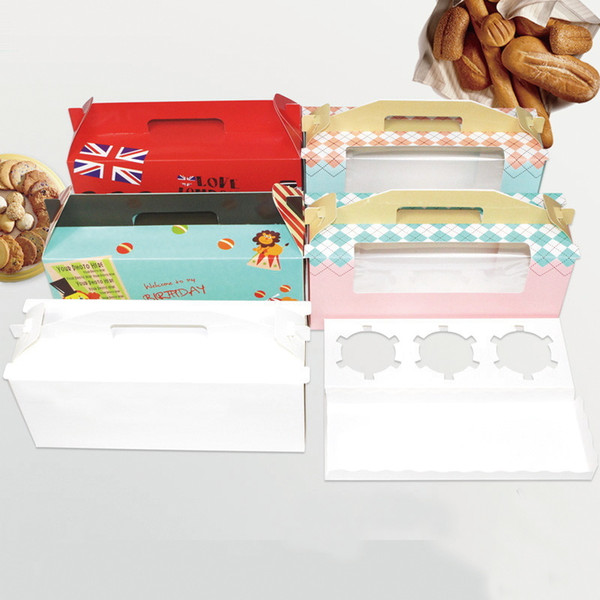 Cupcake box with window handle Roll Cake Kraft Paper Gift Packaging box wedding kids Birthday home Party supplier