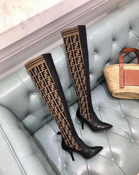 KADIN FF LOGO YÜKSEK TOPRAK SOKET NOKTASı YÜKSEK BOY AYAKKABı Kadın Kadınlar Loafers Balerin Flats Espadrilles Takozlar Sneakers Çizmeler