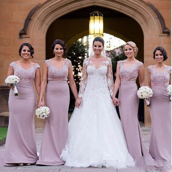 2018 Lilac Long Bridesmaid Dresses Scoop Neckline Sleeves With Lace Applique Sheath Party Dresses Back Zipper Floor-Length Custom Made Gowns