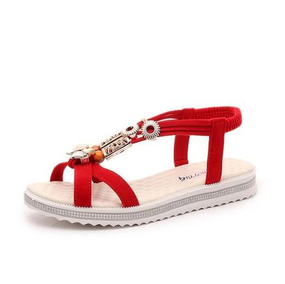 cbfa822aaa90c Leather grass rope Flat heel Beaded Beads Genuine leather sandals Open toe  national style Open toe