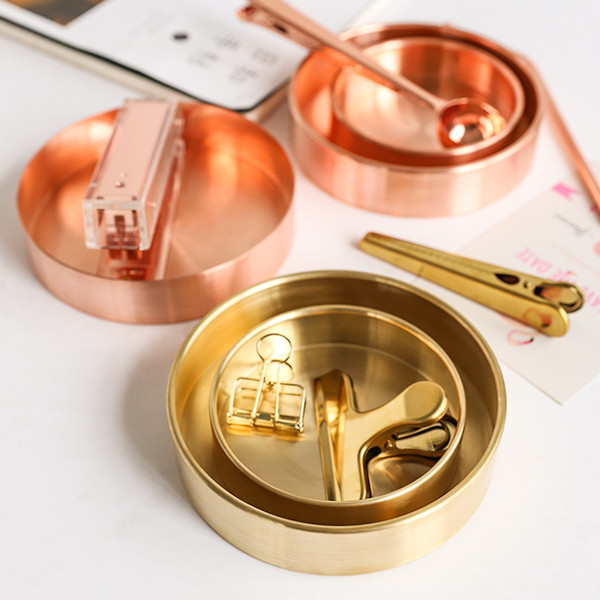 News Nordic chic style metal copper pure copper round brass oval storage/tea tray gold Ins popular product decoration orname