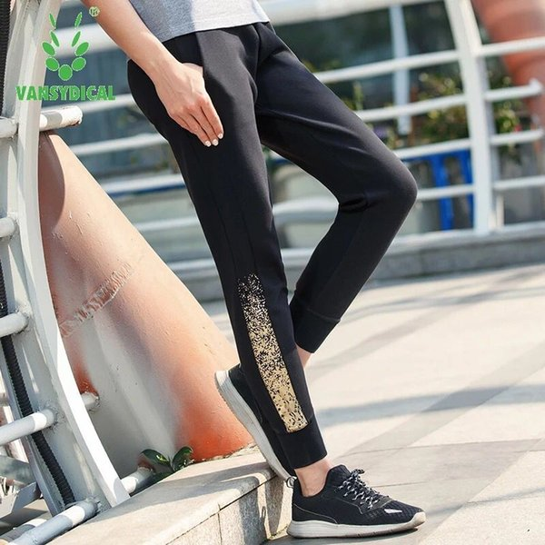 Vansydical Women Running Pants Training Jogging Gym Trousers Drawstring Sweatpants Fitness Workout Sports Pants With Pocket
