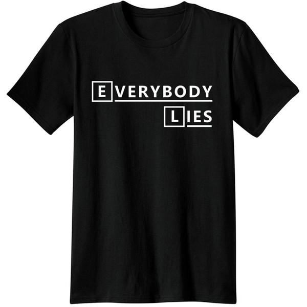 Casa Md Everybody Lies T-Shirts Tees Homens de Algodão Unisex TV Show wilson hannibal graham lecter casa Moda Casual Camisetas