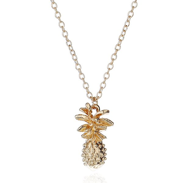 Personality pineapple pendent women necklace all metal perimeter 38cm gold plating zinc casting 13g one piece