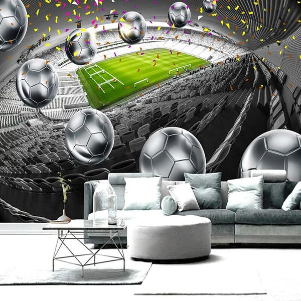 Amélioration de l'habitat Terrain de football 3D affiche Toile de fond Peinture décorative Mural Papier peint personnalisé pour salon Chambre à coucher Design