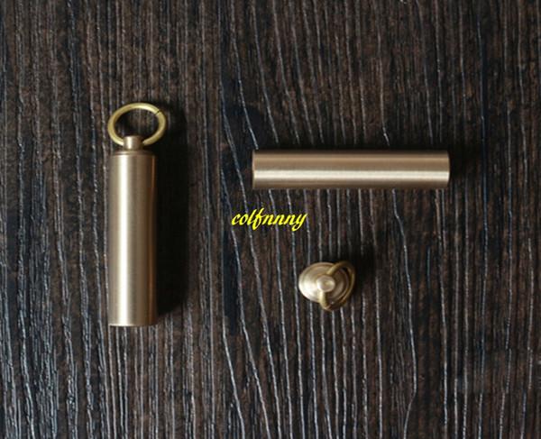 10pcs/lot 12x50mm Key Holder Copper Brass Waterproof Pill Box Bottle Holder Container Keychain Matches jar