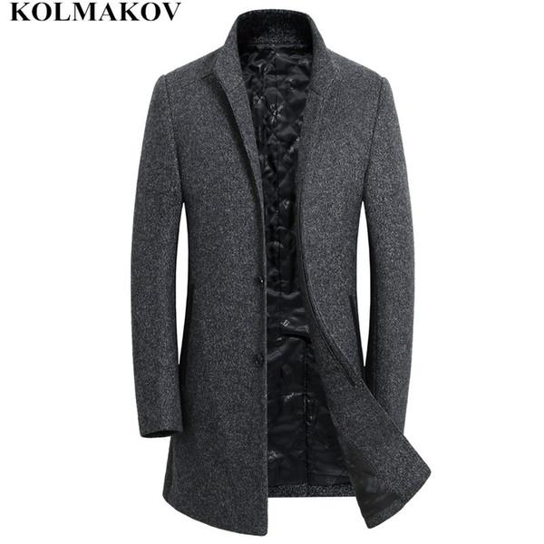 KOLMAKOV Coats Men 2018 New Winter Long Men's Woolen Jackets and Coats Homme Wool Overcoats Slim Fit M-3XL Cashmere Dress Male