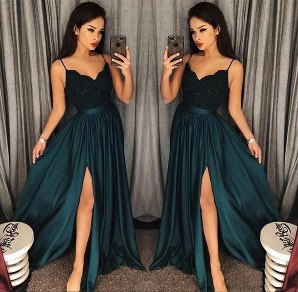 2019 Elegant Evening Gowns A-Line Blackish Green High Split Cutout Side Slit Lace Top Sexy Arabic Sweep Train Formal Party Prom Dresses