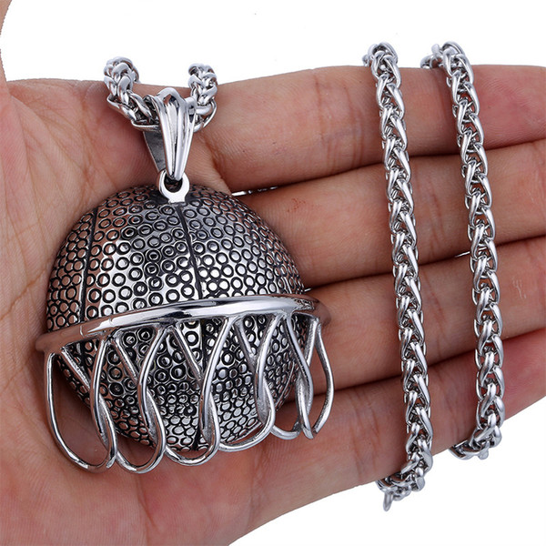 Basketball Slide Net Hollow Back Pendant Necklace Stainless Steel Hiphop/Rock Style Boys Mens Boys Chain Jewelry