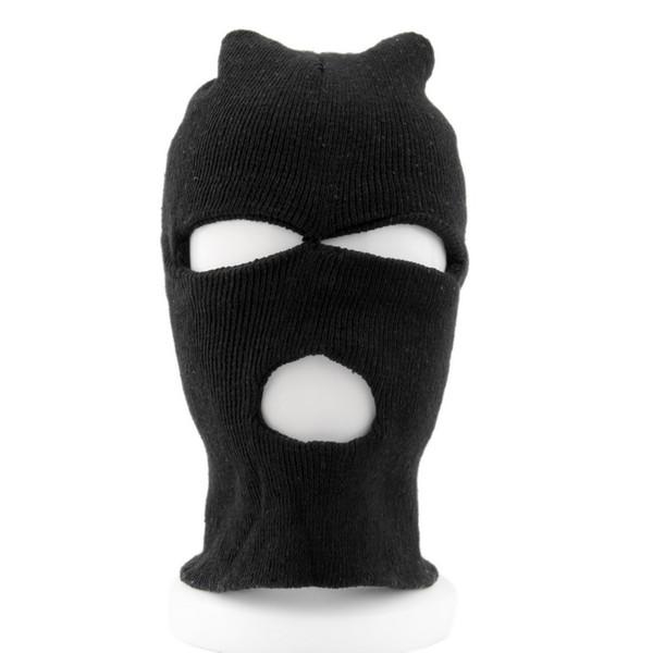 Full Face Cover Ski Mask 3 Hole Balaclava Knit Hat Winter Stretch Snow Mask Beanie Male Men Motorcycle Balaclava