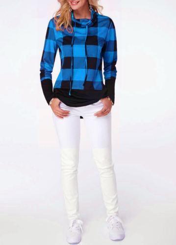 Women Autumn Long Sleeve Plaid Hoodies Ladies Casual Sweatshirts Oversized Loose Pullover Tops
