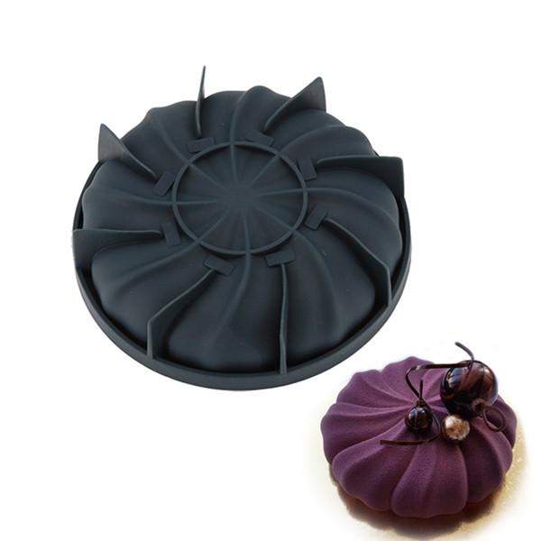 Moules à gâteau de moule de silicone du tourbillon noir 3D pour le moule de casserole de cuisson de mousseline de soie de mousse de crème glacée