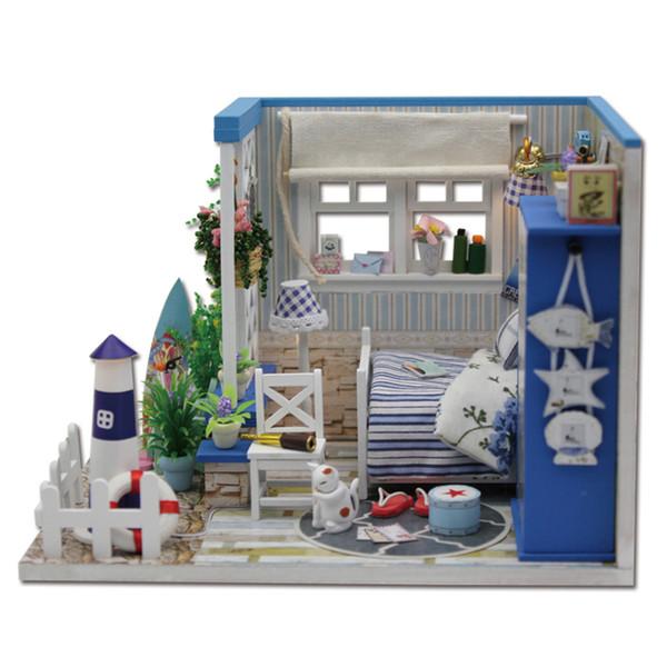 Furniture DIY Doll House Wodden Miniatura Doll Houses Furniture Kit Handmade Assemble Model Dollhouse Toy For Children Gift M025