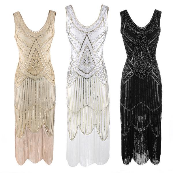 Vintage 1920 Flapper Grande Gatsby Vestido De Lantejoula Fringe Partido Midi Vestido 2018 Verão Fantasia Trajes Pluse