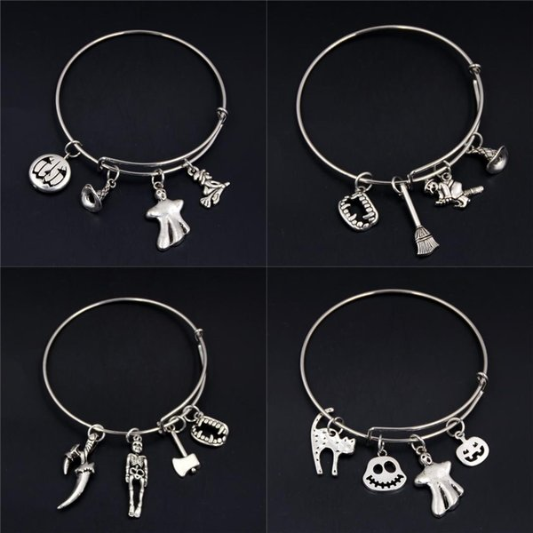 1pc Silver Halloween Gift Ghost Broom Witch Pumpkin Charms Adjustable Wire Wrapped Bangle Bracelet Halloween Spirit