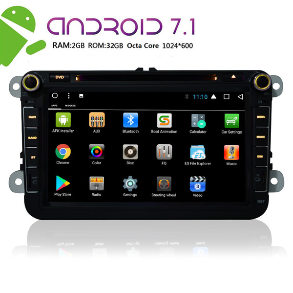 Android 7.1 Car dvd Stereo Octa Core 8'' In Dash Double 2Din Autoradio Bluetooth GPS Navigation Headunit for VW 2GB+32GB WiFi Mirror