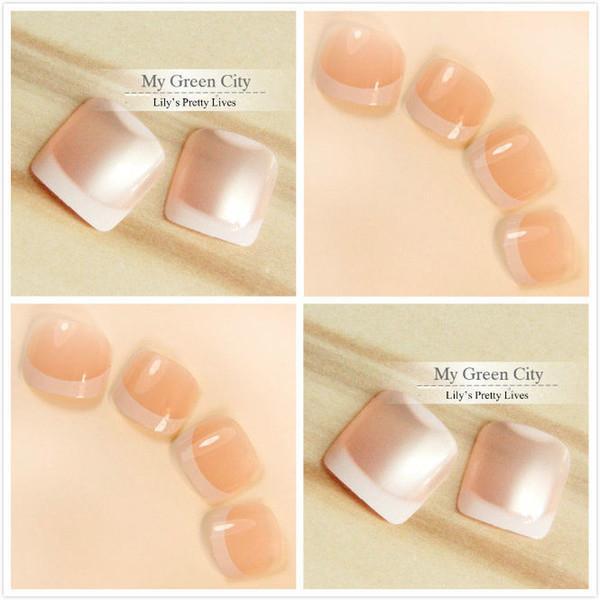foreverlily 96pcs Popluar French Toe Nails 4sets False Full Design Oval Toenails Art Tips Gel Polish Tools
