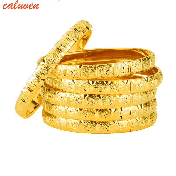 6pcs/lot Ethiopian Jewelry Gold Color Bangles Dubai Gold Jewelry Bangles For African Bangles & Bracelets for Women Gifts