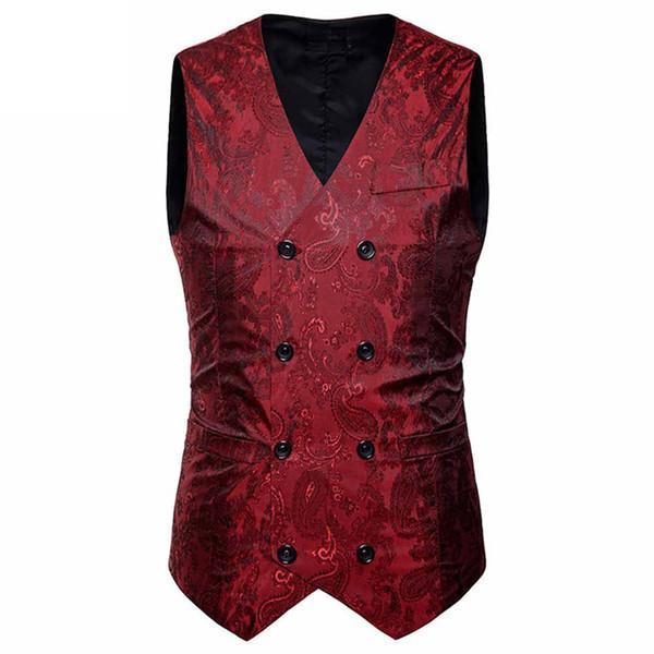 Men'S Formal Blazer Vest Satin Noble 2018 New Business Casual Slim Fit Double-Breasted Waistcoat Coat Suit Blazer Formal Vests