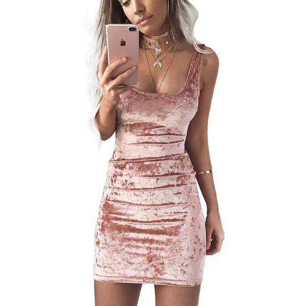 Compre Vestido De Verano De Terciopelo Chaleco Vestido De Mujer Sexy Cuello Cuadrado Sin Respaldo Vestido Sin Mangas De Color Rosa Rosado Varios