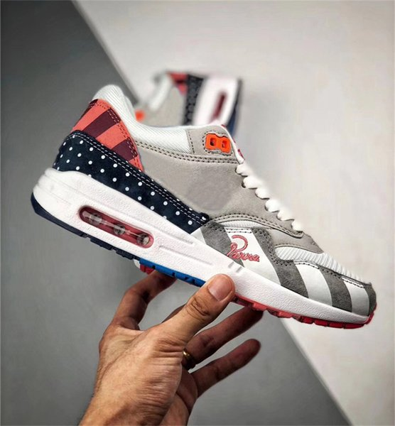Authentic Quality 2018 97AirMax 1 Parra Sean Wotherspoon 1/97 Running Shoes For Men Corduroy Rainbow AT3057-100 Sports Sneakers With Box