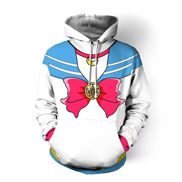 Sailor Moon Cosplay Costume Hoodie Bow print sweater Sweatshirt Jacket for women Female adult lovely coat party costume Halloween costume