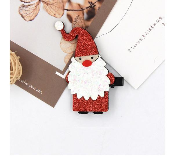 Boutique 20pcs Fashion Cute Glitter Santa Hair Clips Solid Felt Xmas Hairpins Christmas New Year Party Headware Hair Accessories