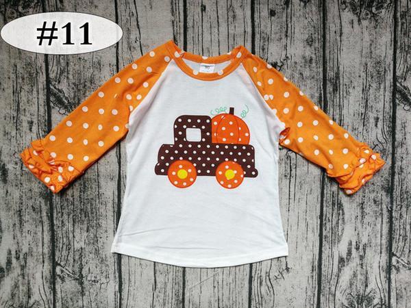 best selling pumpkin print thanksgiving day kids cotton ICING raglan tshirt baby orange dot ruffle sleeves white tops baby unicorn shirts 20styles