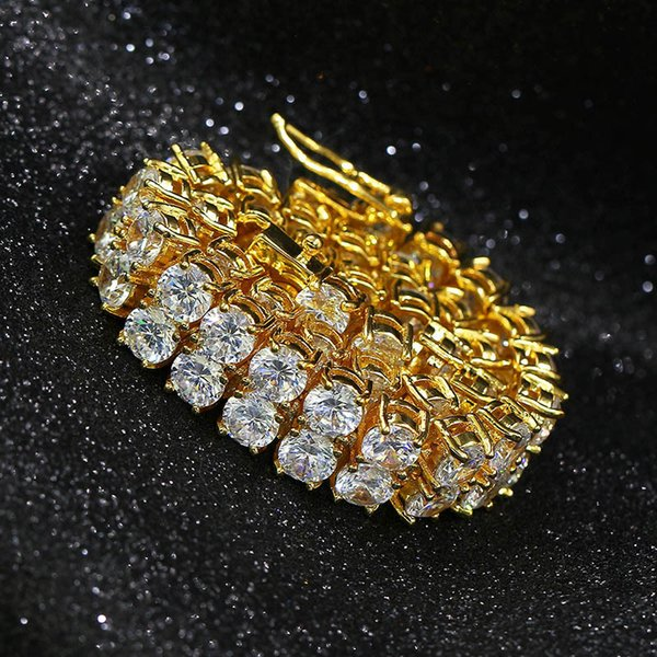 2018 18K chapado en oro encanto de los hombres simulado diamante tenis pulseras de cadena helada Ourat Bling Rhinestone Cadenas joyería de Hip Hop para hombre joyería