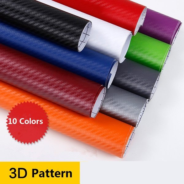 50cm*250cm Carbon Fiber Vinyl Wrap Film 3D Car Body Film Colorful PVC Auto Styling Interior Sticker Accessories Black Red Orange Green