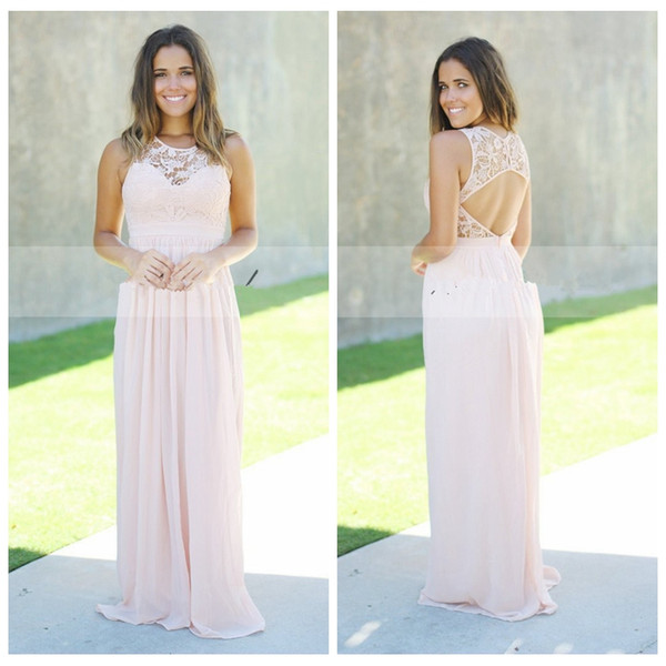 Lace Top A-Line Long Bridesmaids Dresses Sleeveless Sexy Open Back 2019 Spring Honor Of Maid Cheap Plus Size Sweep Train Formal Party Gowns