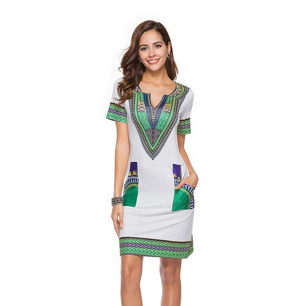 dad990b398 Summer Sexy African Print Shirt Dresses Femme Vintage Mini hippie Plus Size  Boho Women Casual Clothing