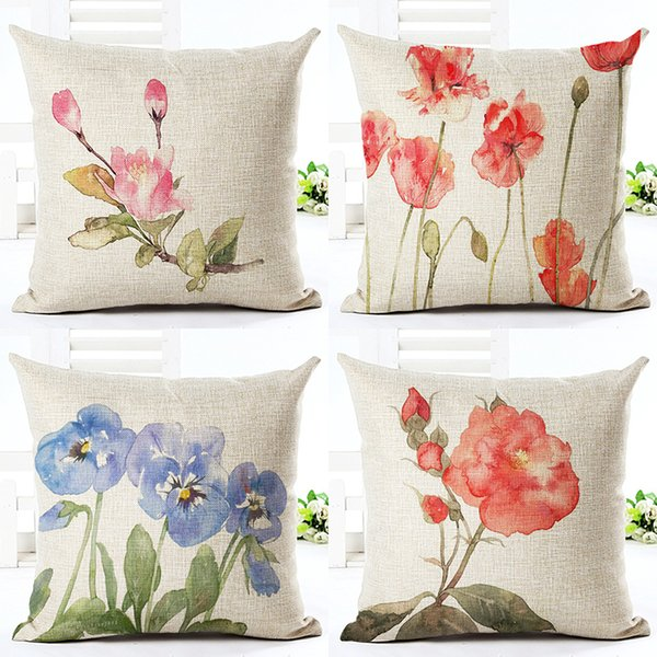 Red Flower Cushion Cover Textile Printing Throw Pillow Cover Housse De Coussin Square Cotton Linen Cojines