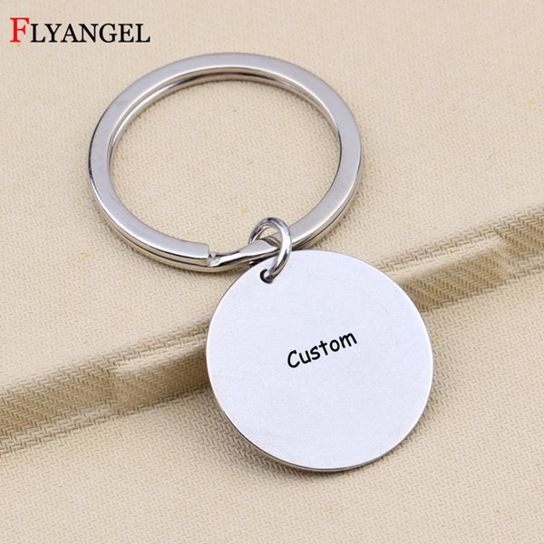1pcs customized engraved text letter name key chains diy keychain gift for women men family friends couples 25mm keyring jewelry, Silver