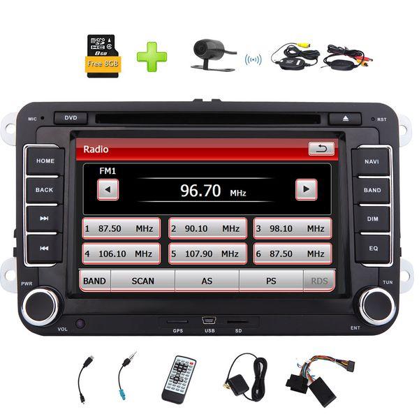 "8GB Map&Wireless Backup Camera Eincar 7"" Car Radio for VW Car Stereo Double Din Car DVD CD Player GPS Sat Nav Bluetooth Parking"